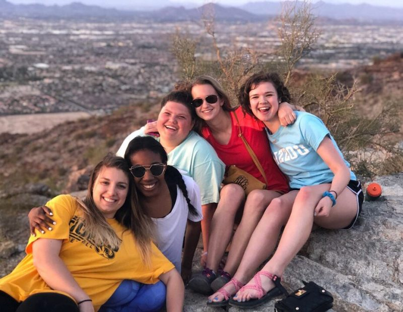 Students watching the beautiful sunset in Phoenix, Arizona.